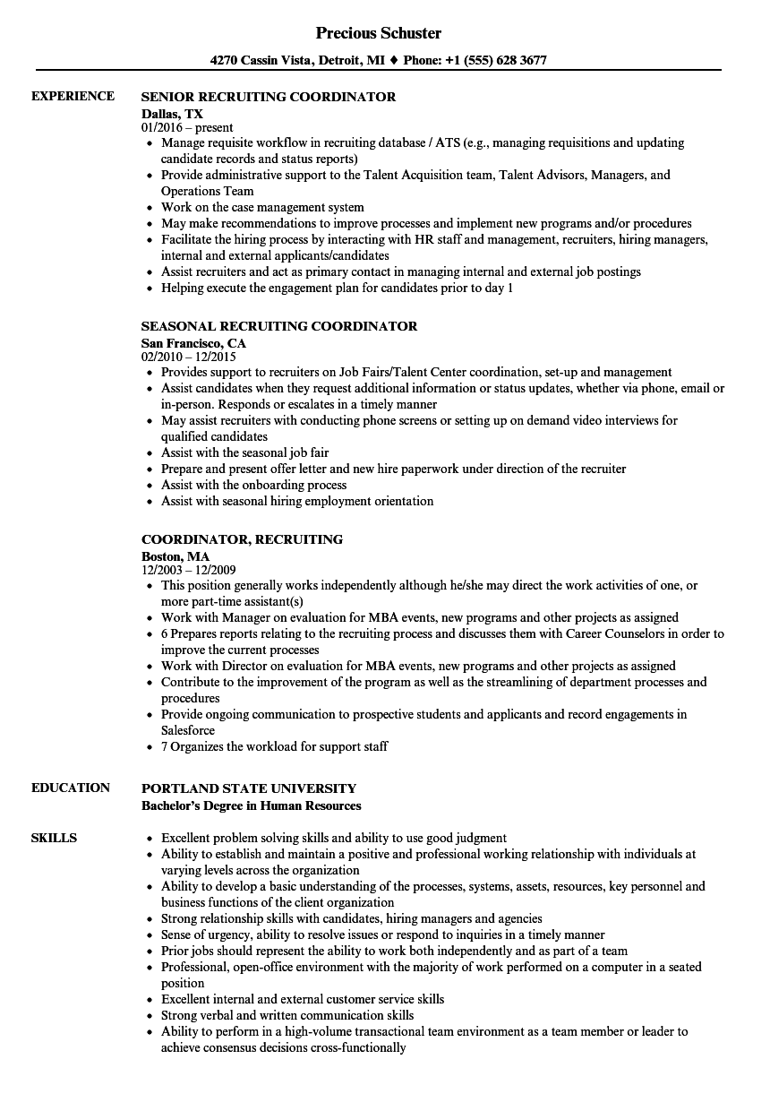 Awesome Download Recruiting Coordinator Recruiting Coordinator Resume Sample As  Image File Intended For Recruiting Coordinator Resume