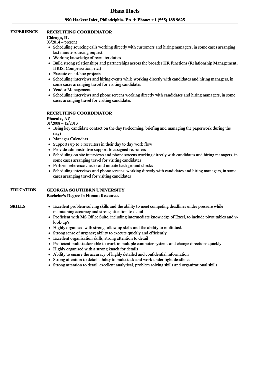 Recruiting Coordinator Resume Samples | Velvet Jobs