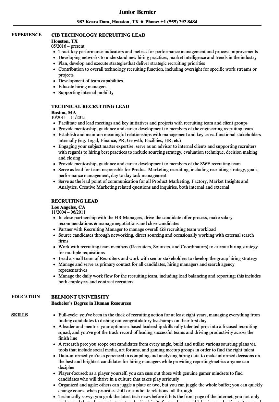 Recruiting Lead Resume Samples | Velvet Jobs