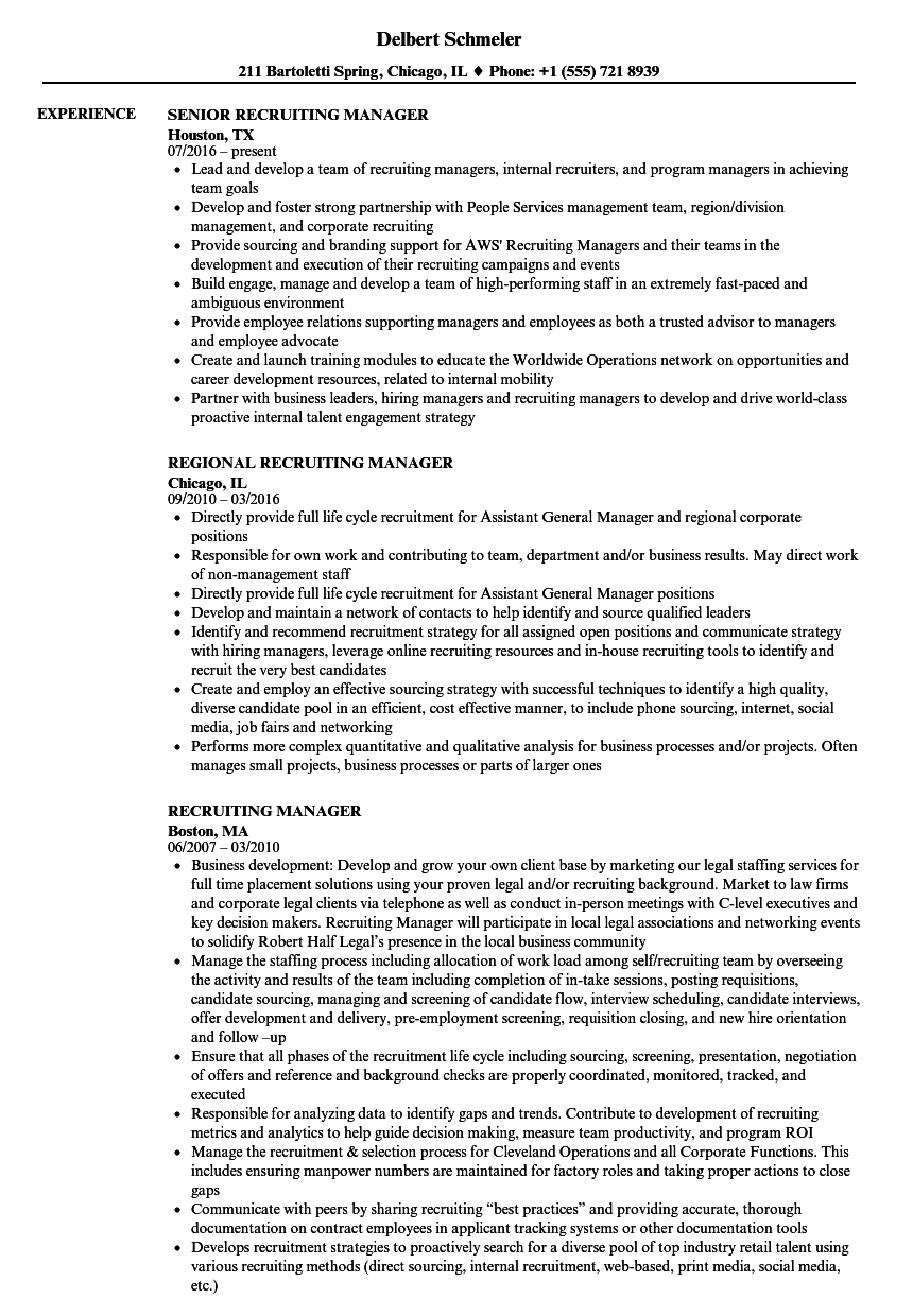 Recruiting Manager Resume Samples | Velvet Jobs