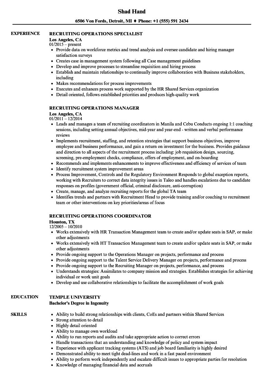 recruiting operations resume samples velvet jobs