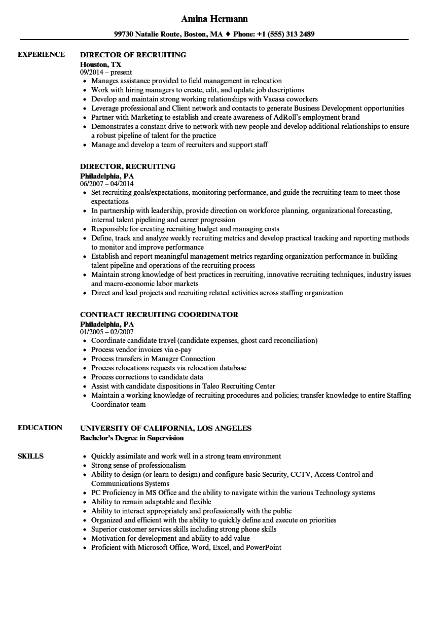 Recruiting Resume Samples | Velvet Jobs