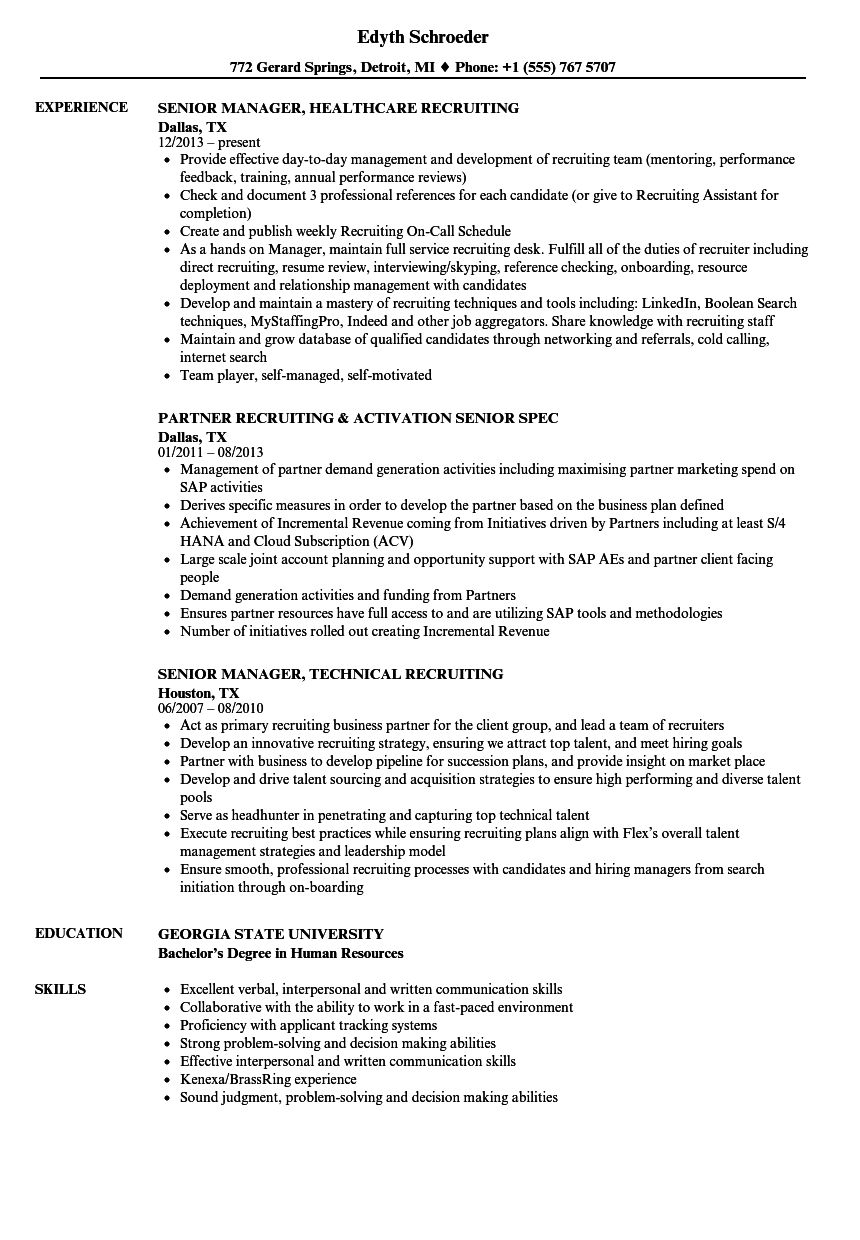 recruiting senior resume samples velvet jobs