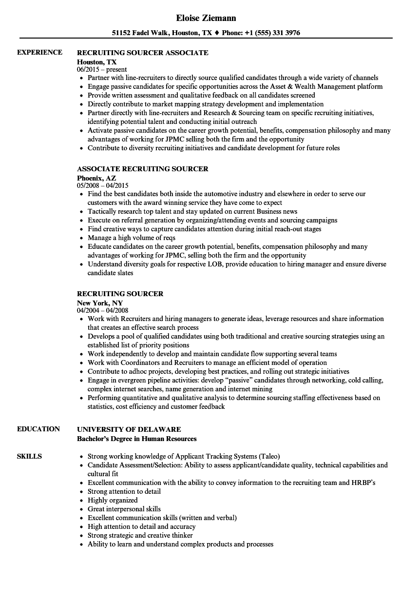 recruiting sourcer resume samples