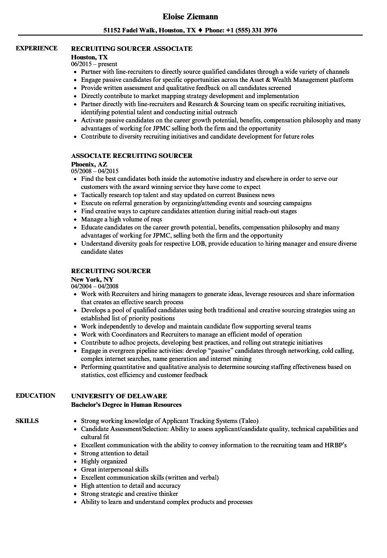 Recruiting Sourcer Resume Samples Velvet Jobs
