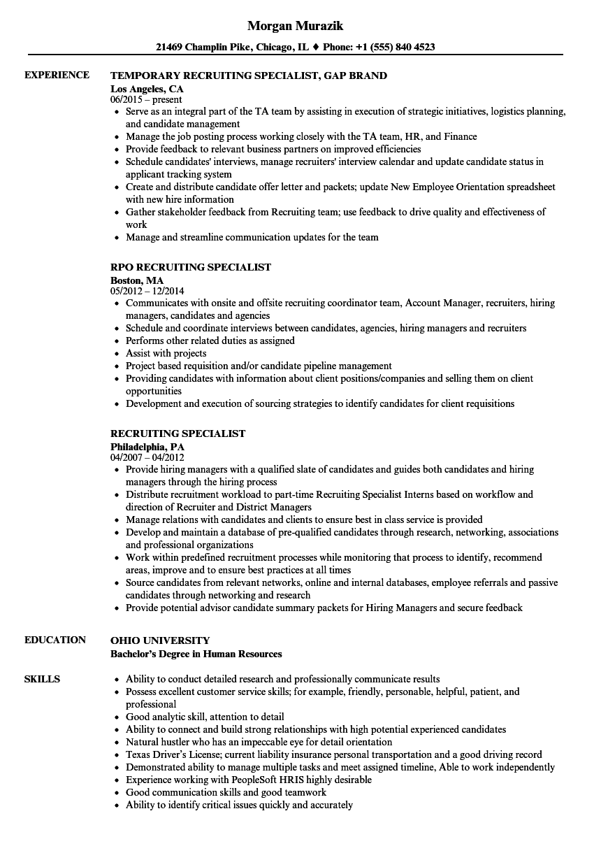 recruiting specialist resume samples velvet jobs