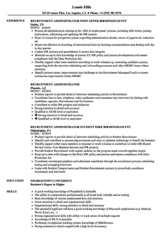 Recruitment Administrator Resume Samples Velvet Jobs