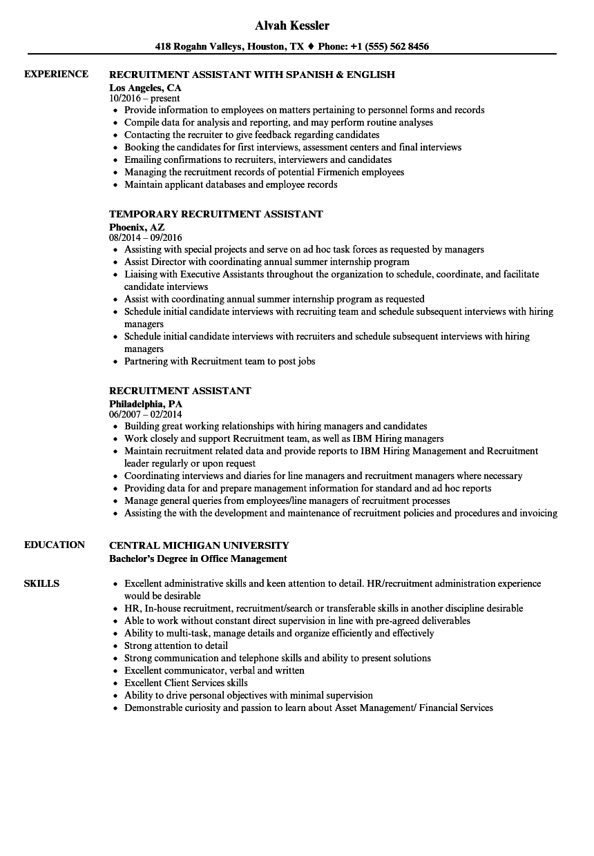 Recruitment Assistant Resume Samples Velvet Jobs