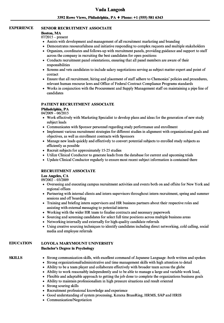 Recruitment Associate Resume Samples | Velvet Jobs