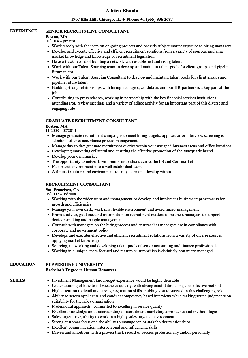 recruitment consultant resume samples