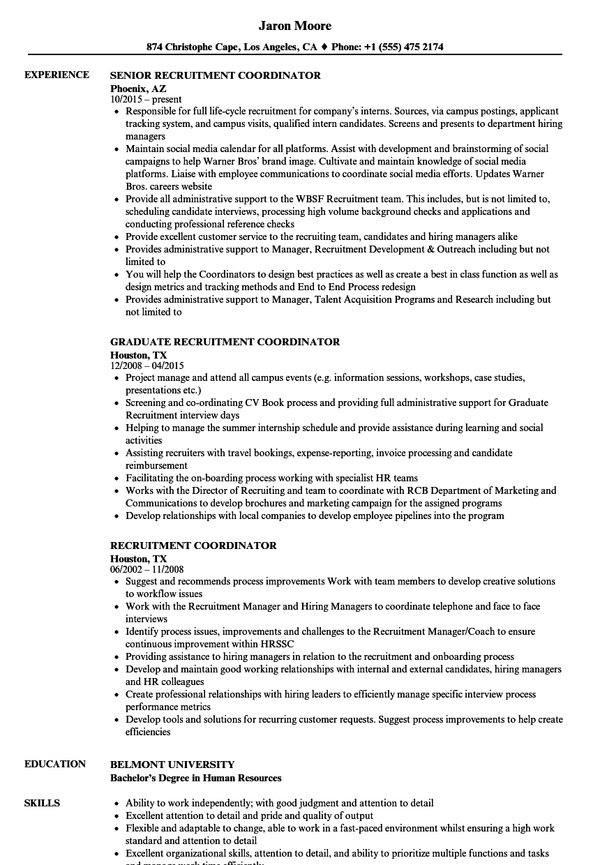 recruitment coordinator resume samples
