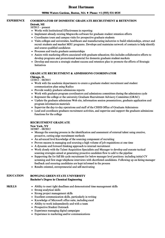 recruitment graduate resume samples