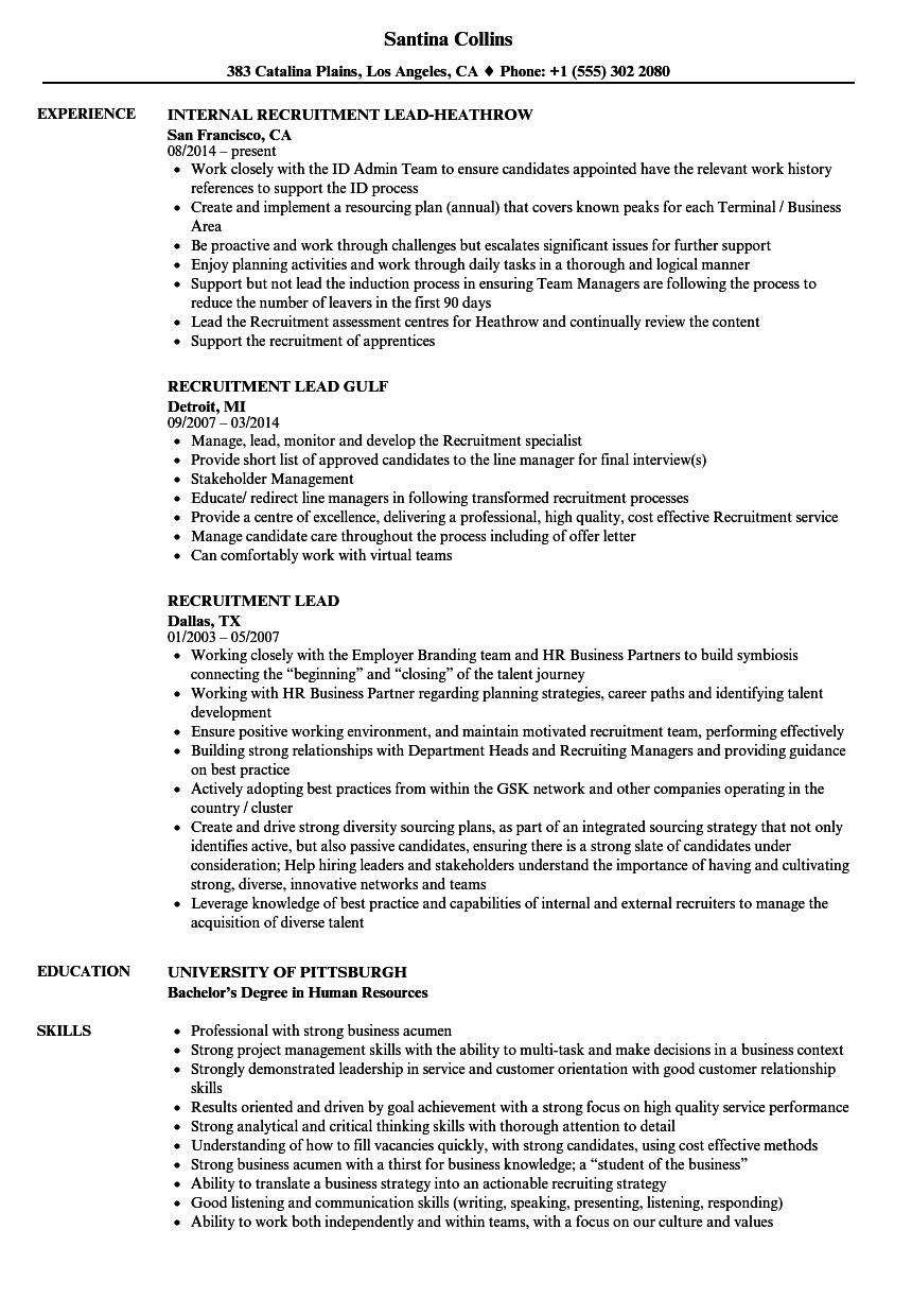 Recruitment Lead Resume Samples | Velvet Jobs