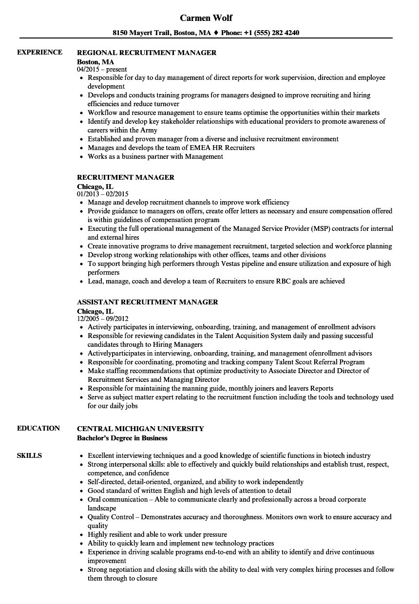 Recruitment Manager Resume Samples | Velvet Jobs