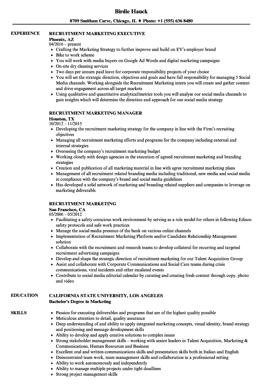 recruitment marketing resume samples