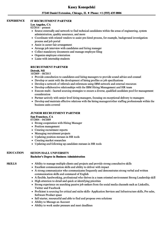 Recruitment Partner Resume Samples Velvet Jobs