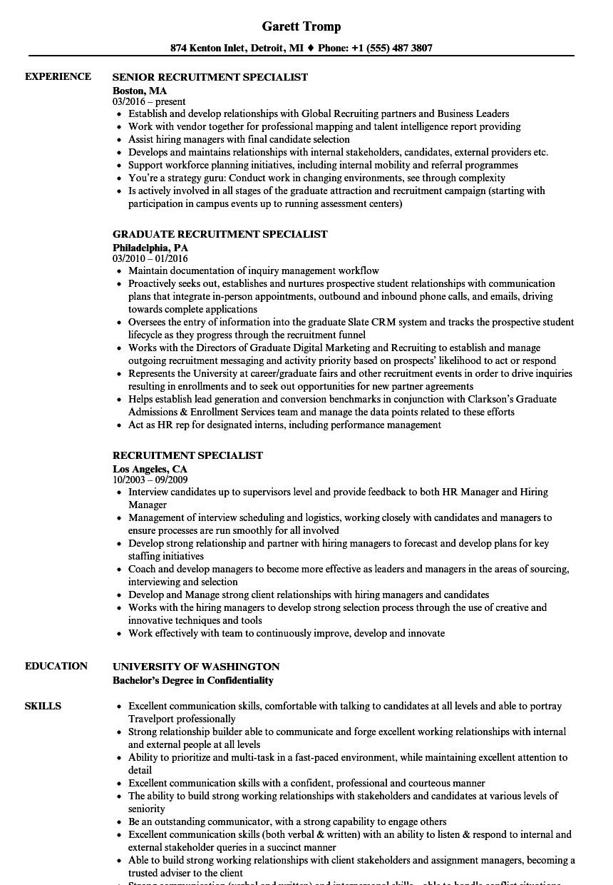 recruitment specialist resume samples velvet jobs
