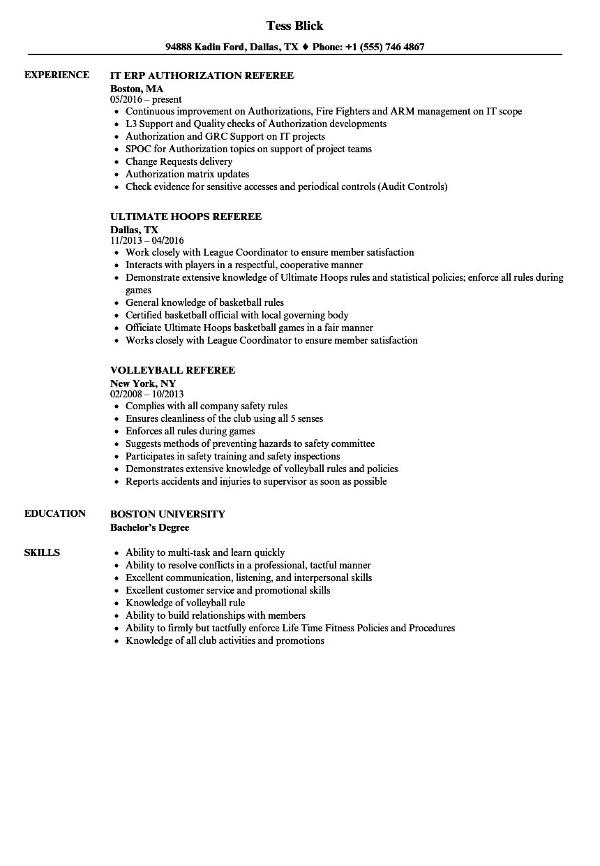 referee resume samples velvet jobs