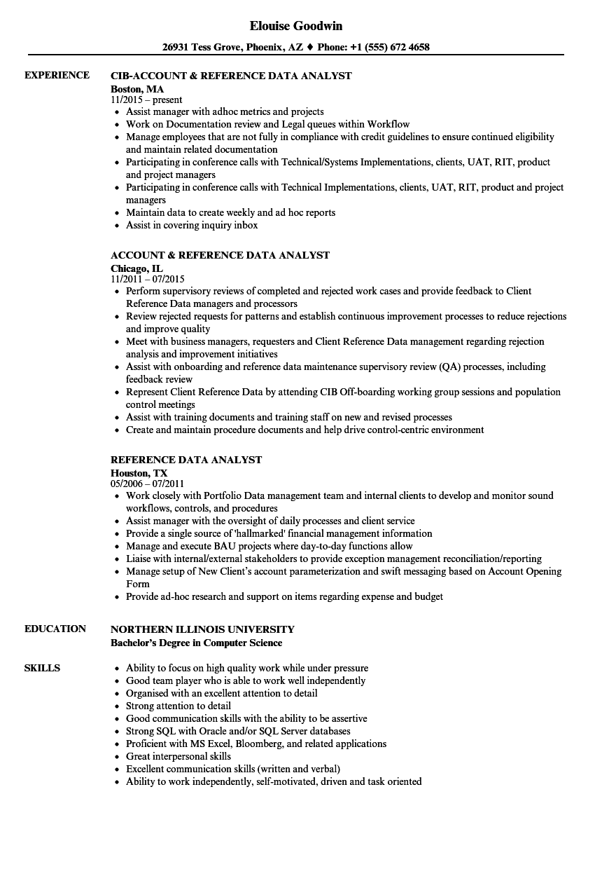 Reference Data Analyst Resume Samples Velvet Jobs