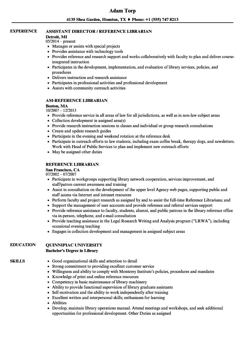 Reference Librarian Resume Samples | Velvet Jobs