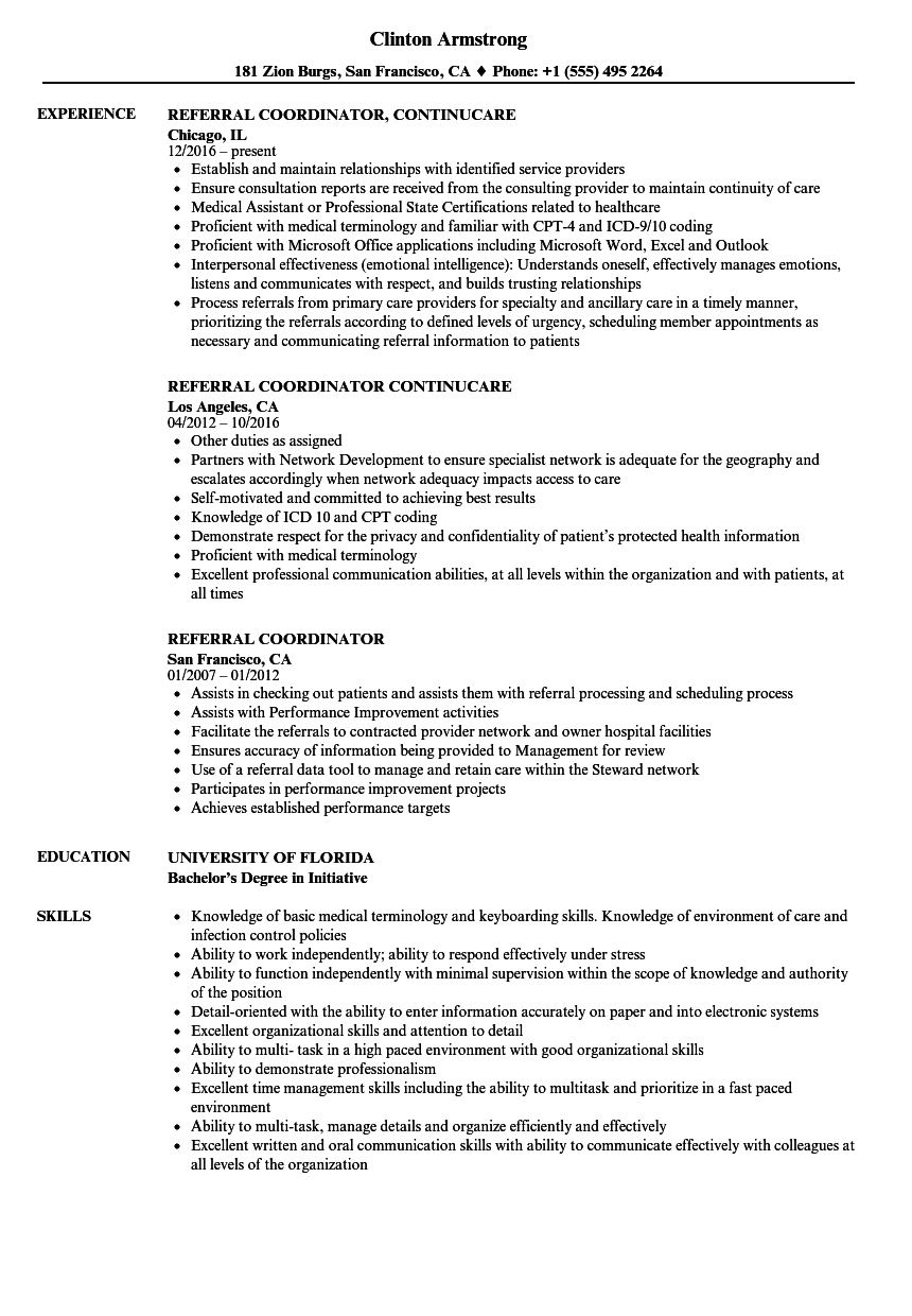 referral coordinator resume samples