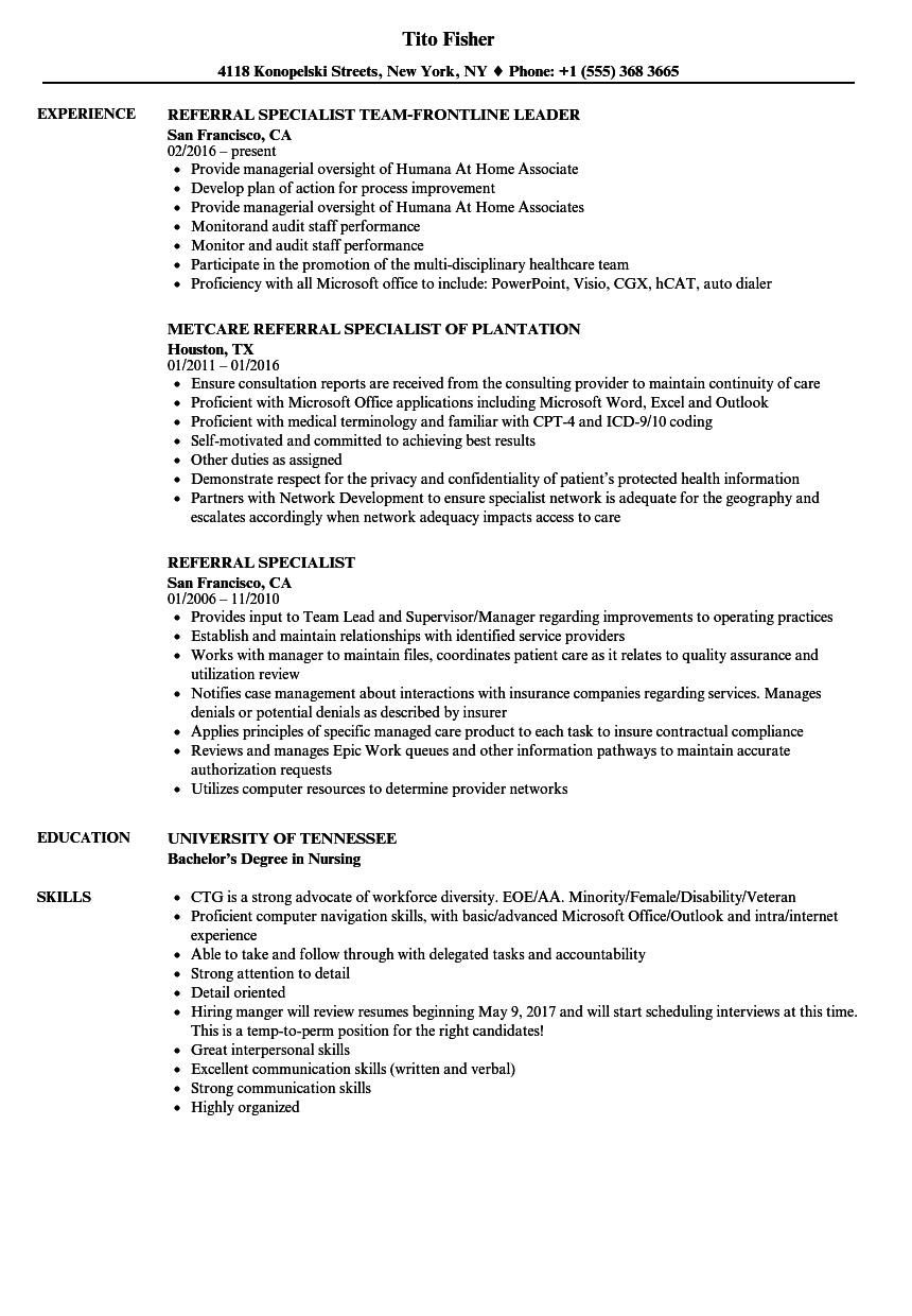 referral specialist resume samples