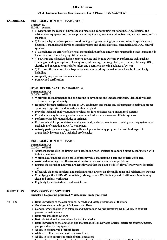 Refrigeration Mechanic Resume Samples | Velvet Jobs