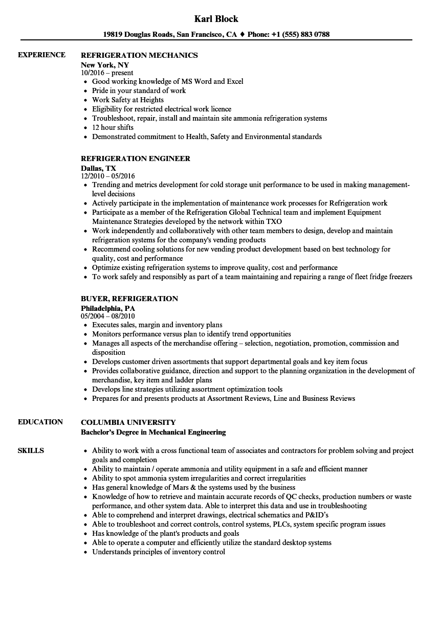 refrigeration resume samples velvet jobs