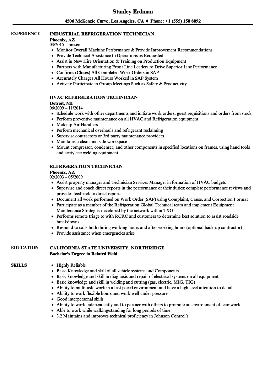Refrigeration Technician Resume Samples | Velvet Jobs