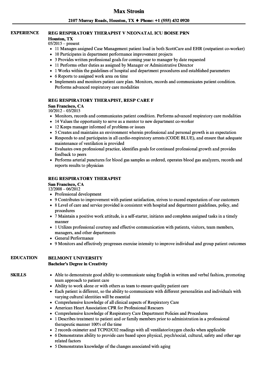 Reg Respiratory Therapist Resume Samples Velvet Jobs