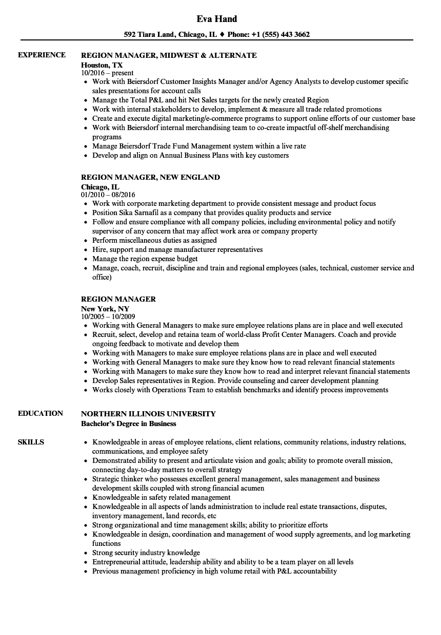 region manager resume samples