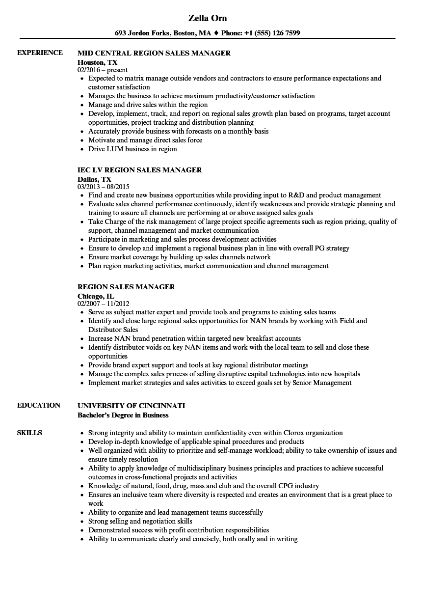 region sales manager resume samples