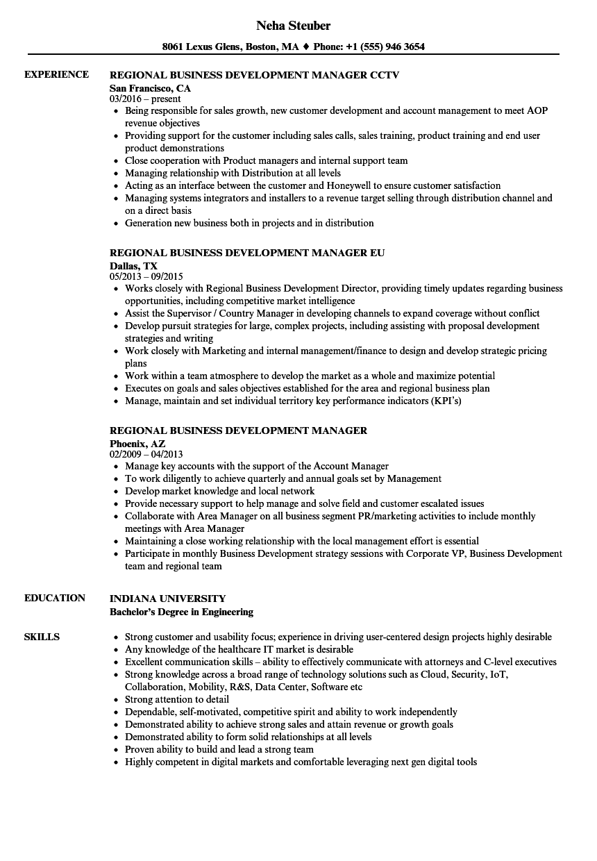 Regional Business Development Manager Resume Samples | Velvet Jobs