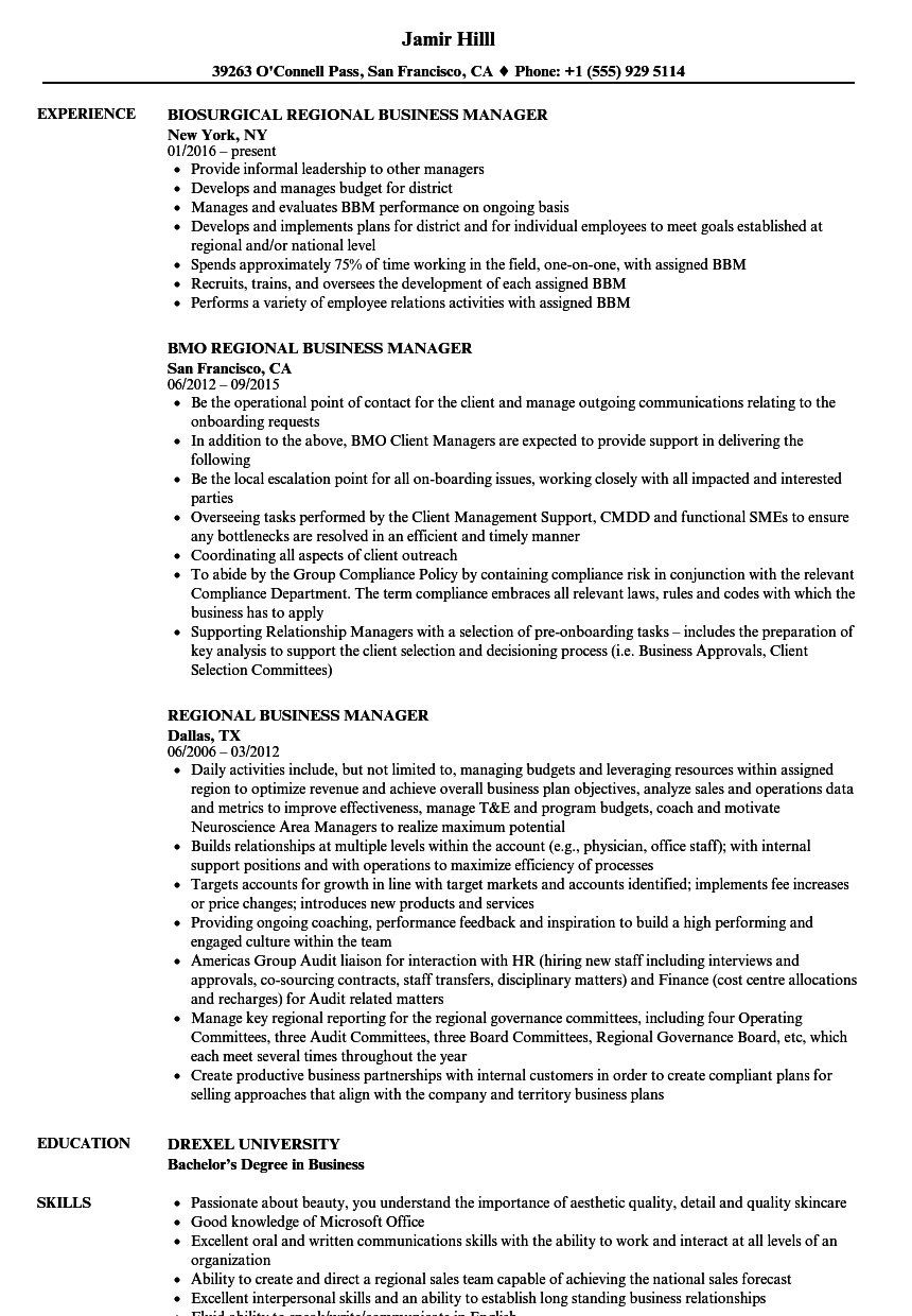 Regional Business Manager Resume Samples | Velvet Jobs