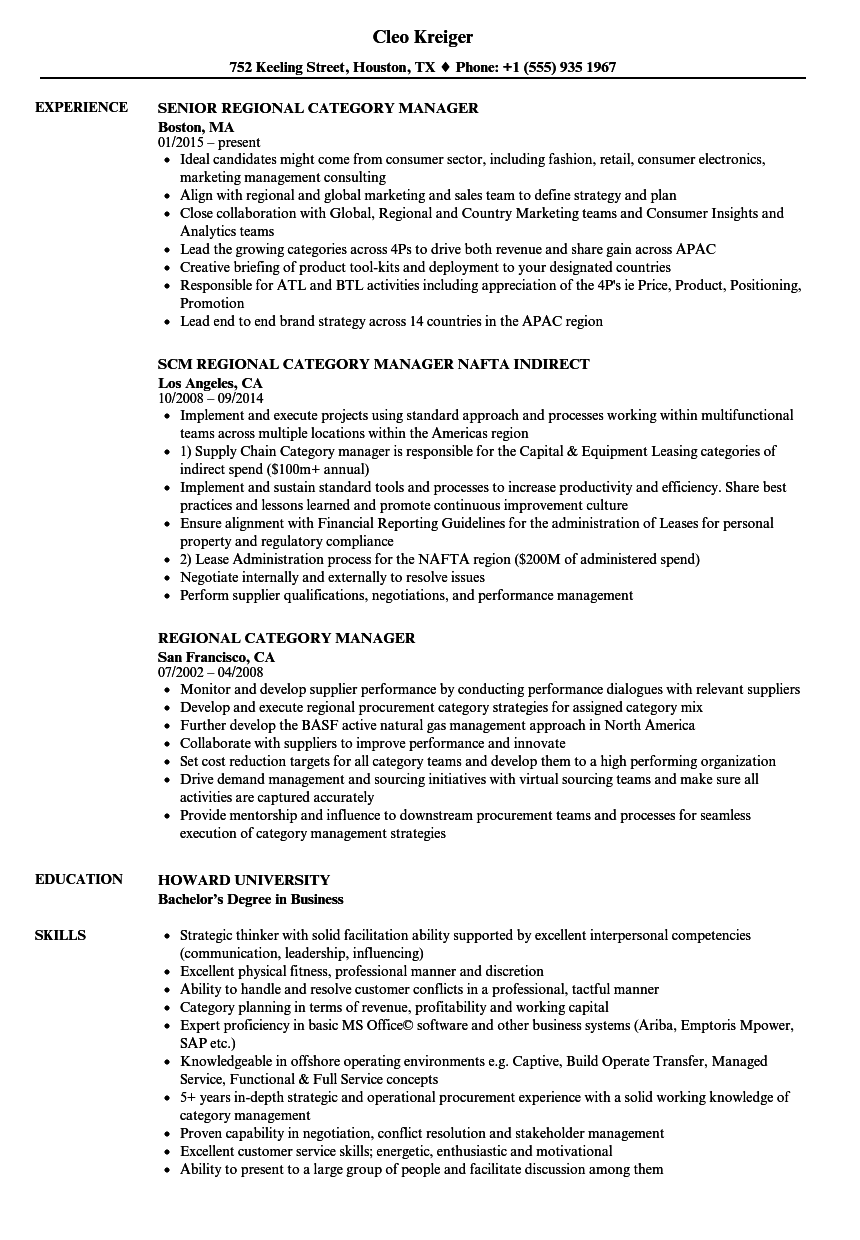 Regional Category Manager Resume Samples