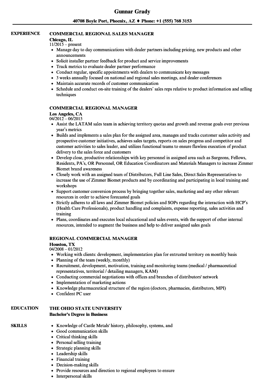 regional commercial manager resume samples