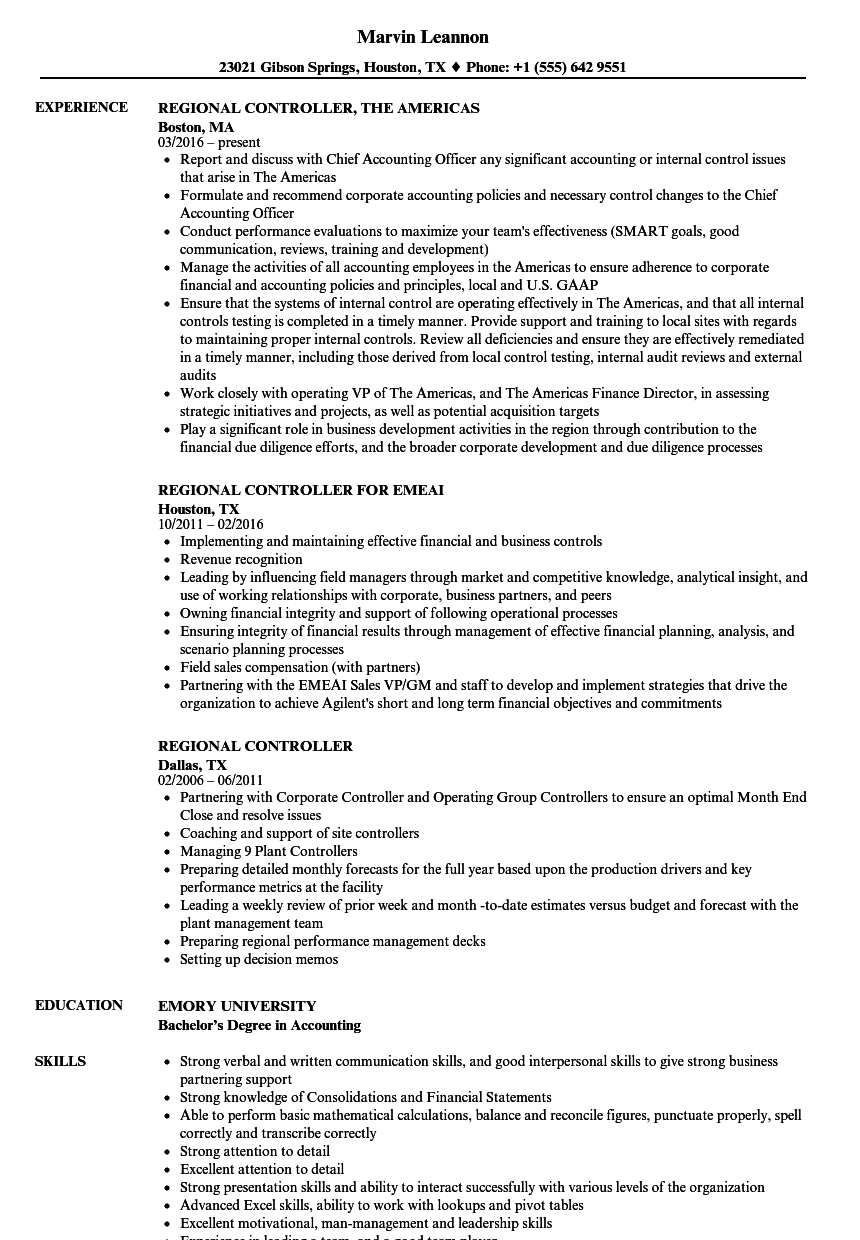 ... Regional Controller Resume Sample As Image File