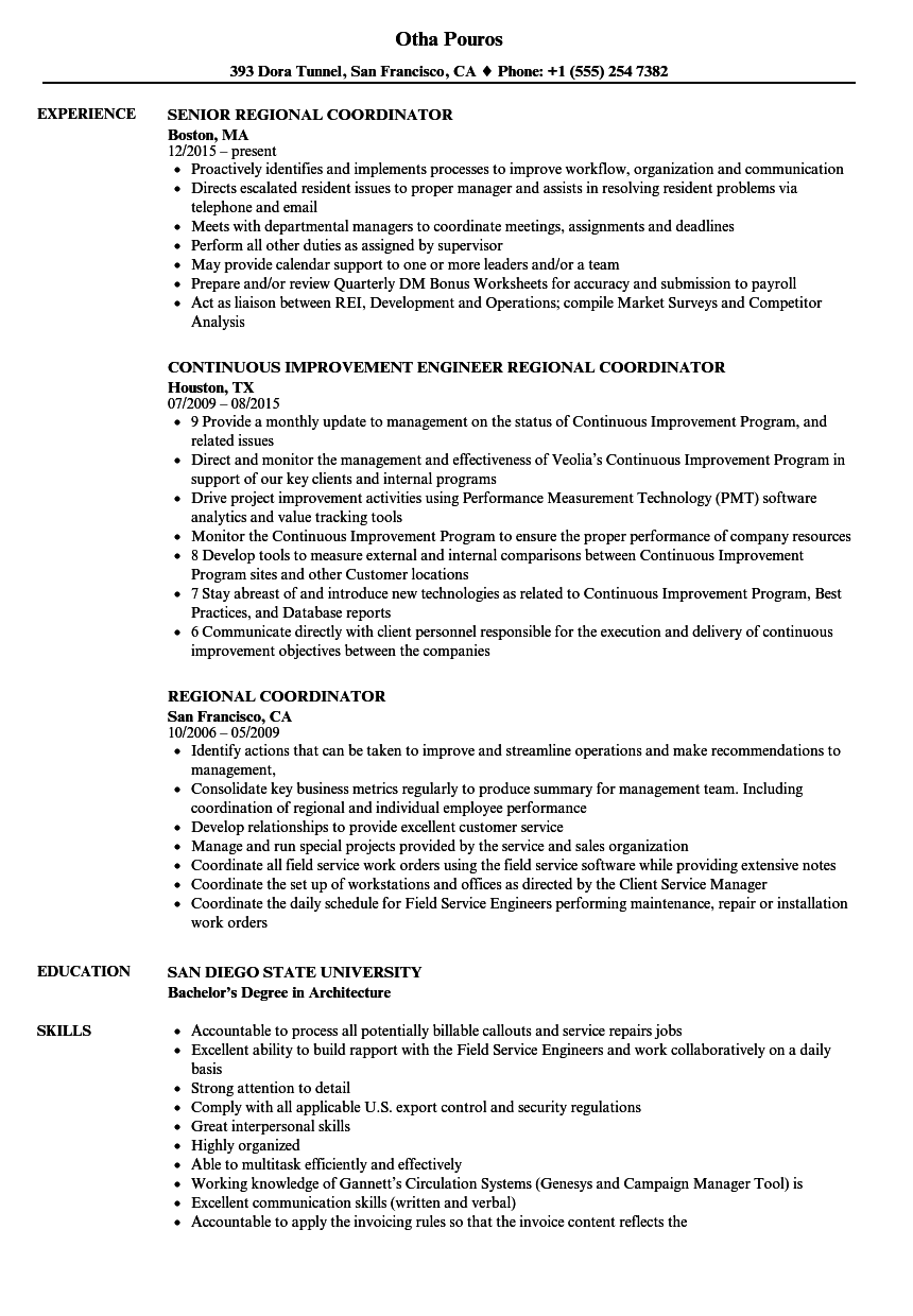 Awesome Download Regional Coordinator Resume Sample As Image File