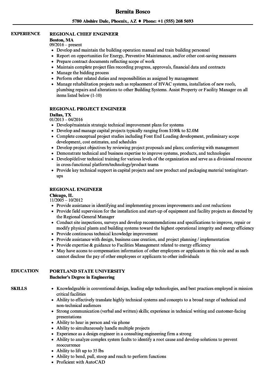 Regional Engineer Resume Samples | Velvet Jobs