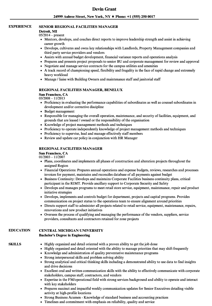 Regional Facilities Manager Resume Samples Velvet Jobs