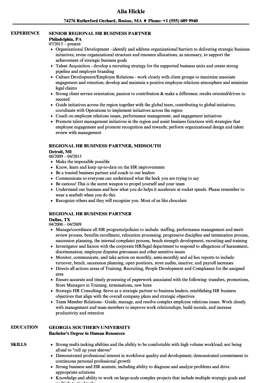 Download Regional HR Business Partner Resume Sample As Image File