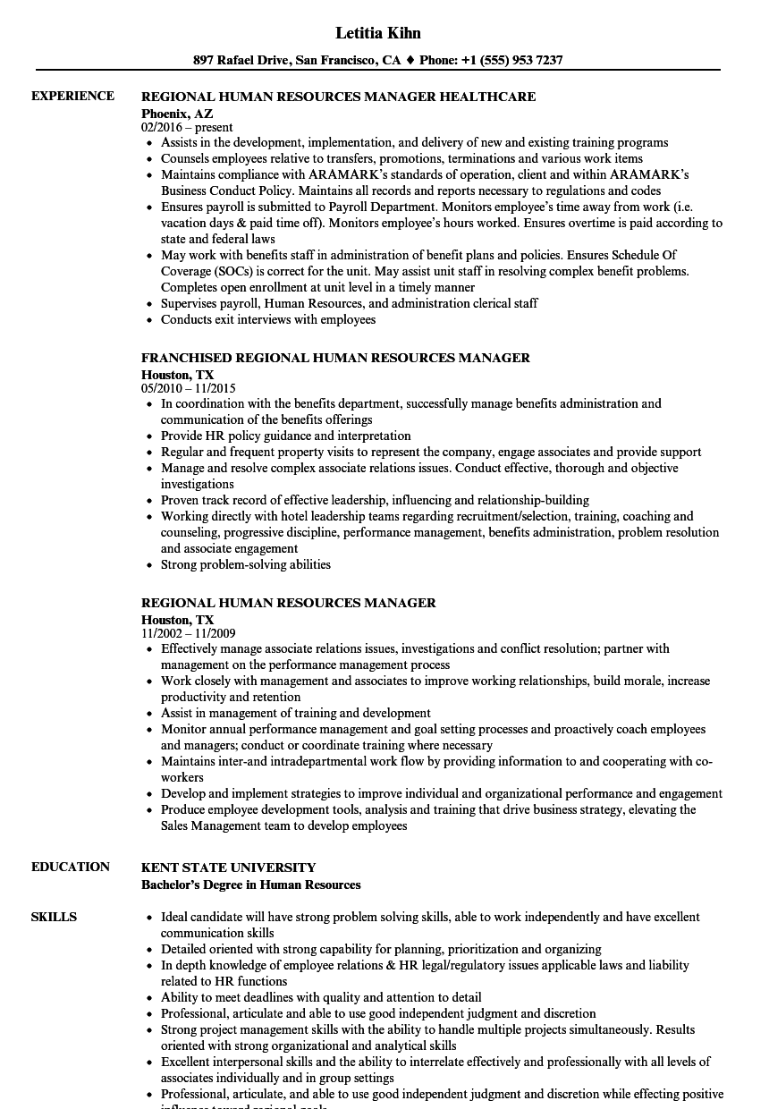 Regional Human Resources Manager Resume Samples | Velvet Jobs