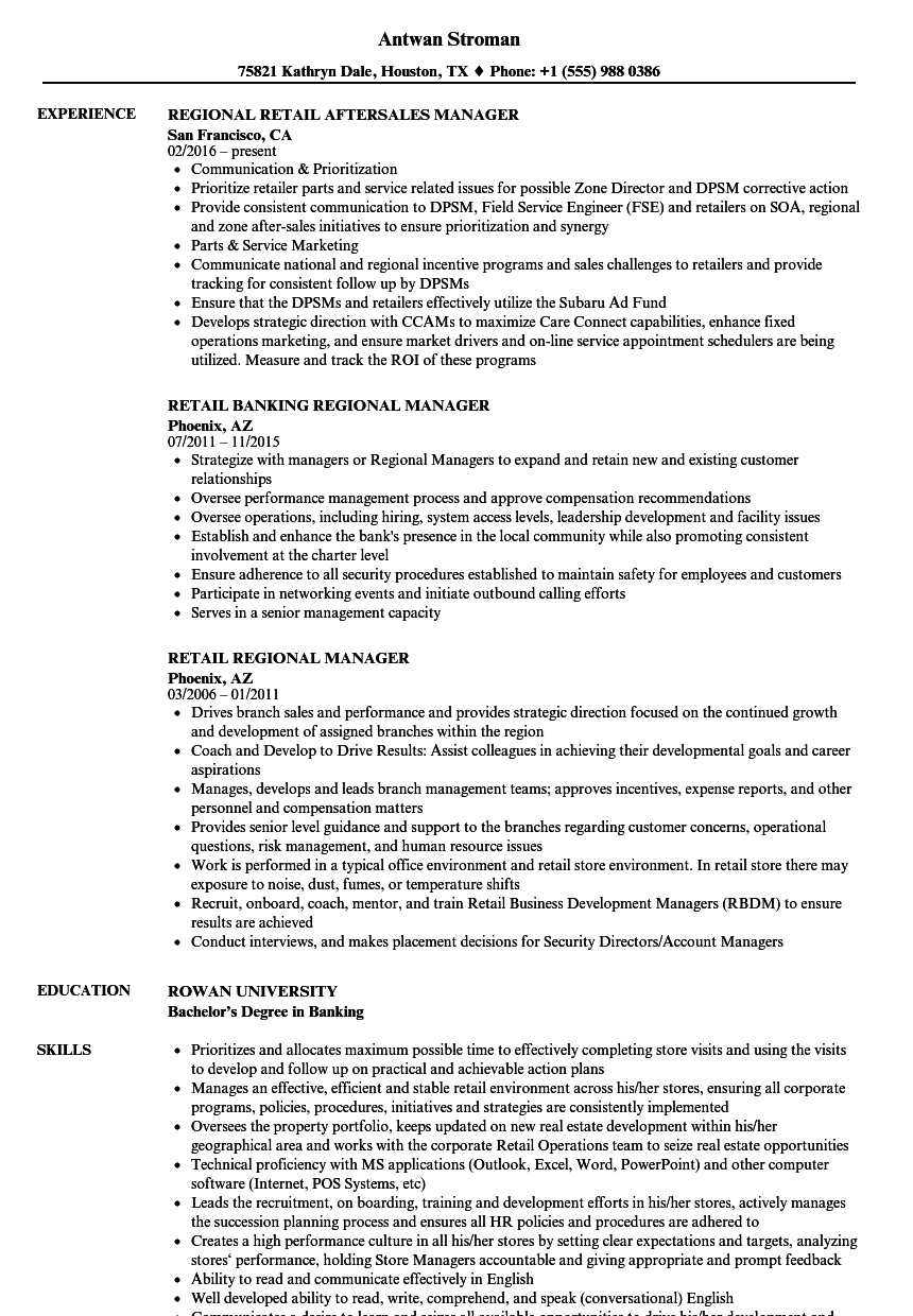regional manager retail resume samples