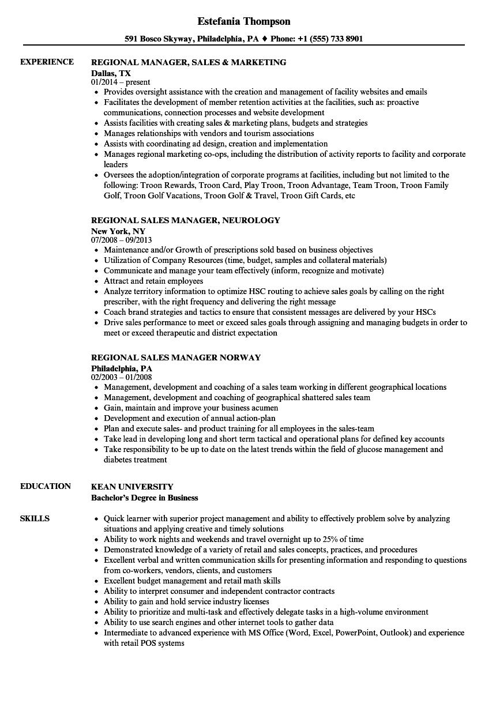 download regional manager sales resume sample as image file