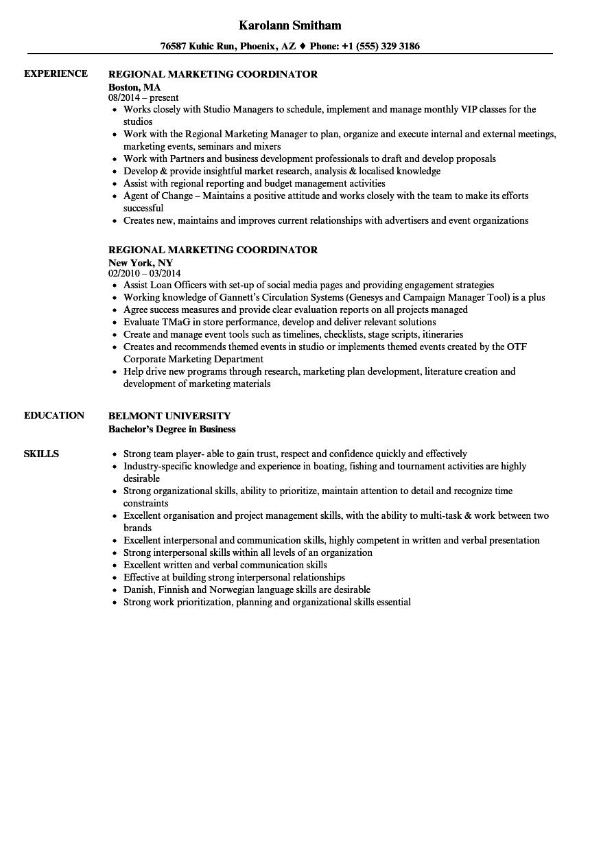 Regional Marketing Coordinator Resume Samples | Velvet Jobs