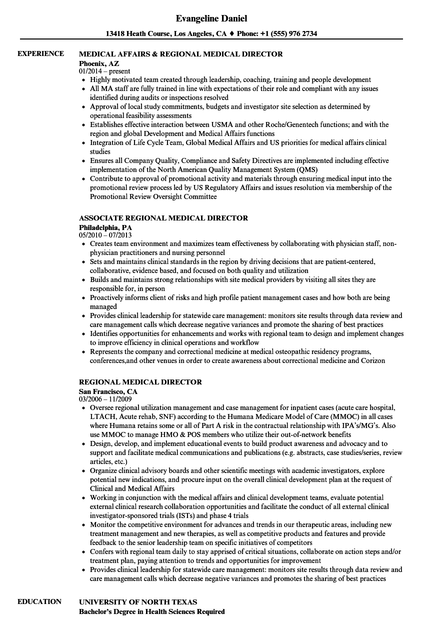 Regional Medical Director Resume Samples Velvet Jobs