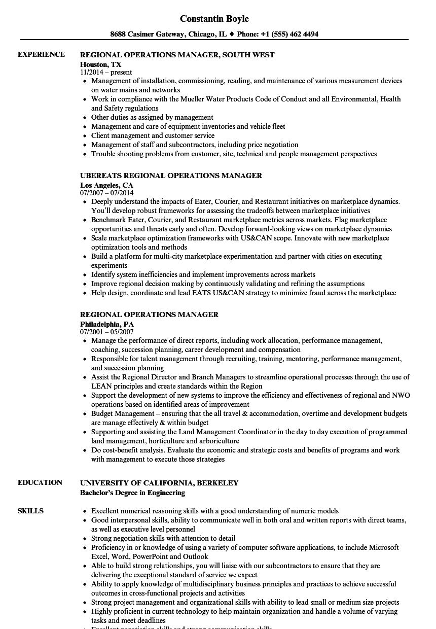 Regional Operations Manager Resume Samples | Velvet Jobs