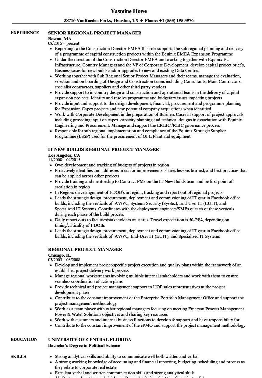 download regional project manager resume sample as image file - Resume Political Science Degree