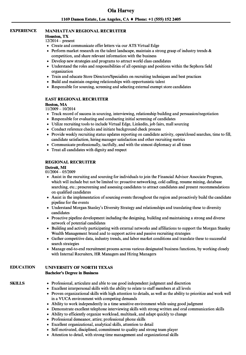 regional recruiter resume samples