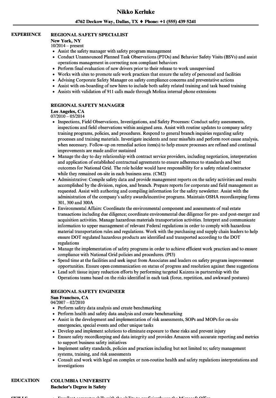 regional safety resume samples